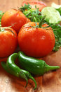 Salsa ingredients of avocado cilantro tomatoes and peppers picante Royalty Free Stock Images