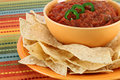 Salsa, jalapeno pepper slices and tortilla chips Royalty Free Stock Photo