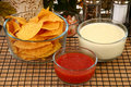 Salsa Nachos and Cheese Dip Royalty Free Stock Image