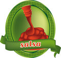 Salsa sauce label illustration of isolated on white background Royalty Free Stock Images