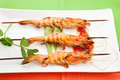 Salsa Spicy Whole Grilled Shrimps Stock Photography