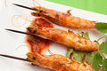Salsa Spicy Whole Grilled Shrimps Royalty Free Stock Photo