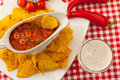 Salsa with tortilla chips and beer spicy red Stock Photo