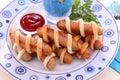 Salsichas envolvidas na pastelaria Foto de Stock