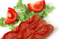 Salsichas grelhadas frescas Fotos de Stock