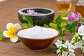 Salt bowl, essential oil,  flower float on water china backgroun Royalty Free Stock Photo