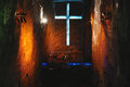 Salt cathedral of zipaquirá catedral de sal columbia showing an illuminated cross inside the mine Royalty Free Stock Photo