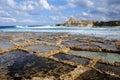 Salt evaporation ponds Royalty Free Stock Images