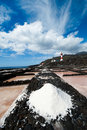 Salt evaporation ponds and Lighthouses, La Palma Stock Images