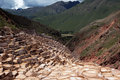 Salt evaporation ponds in maras in peru on a sunny day Stock Images