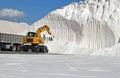 Salt harvesting the mountain in santa pola spain Royalty Free Stock Photography