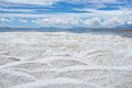 Salt heap the of caka lake in qinghai china Royalty Free Stock Image