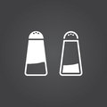 Salt icon. Solid and Outline Versions. White icons on a dark bac