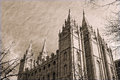Salt lake city temple in sepia the square downtown built by settlers almost mormon it take years to build Royalty Free Stock Photos