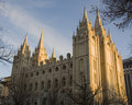 Salt Lake Temple North Side at Dusk Stock Photo