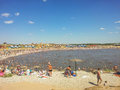 Salt lakes in sol iletsk on a hot sunny day a lot of people Stock Photo