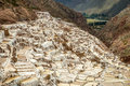 Salt mines overview of in the mountains of peru Royalty Free Stock Images
