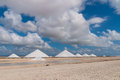 Salt mountains at Bonaire Royalty Free Stock Photo