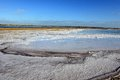 Salt pan in the evaporation Royalty Free Stock Photography