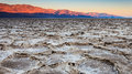 Salt pans at sunrise panorama of the badwater basin in death valley national park california Royalty Free Stock Photography