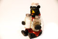 Salt and pepper bear cook holding Stock Photography