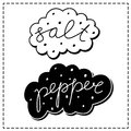 Salt and pepper labels calligraphic handwritten Royalty Free Stock Images