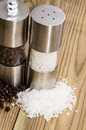 Salt and Pepper with shakers Stock Images