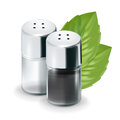 Salt and pepper shakers with leaves isolated on white Royalty Free Stock Photo