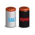 Salt and pepper shakers on a white background Stock Photos