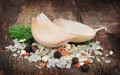Salt pile and garlic Royalty Free Stock Images