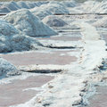 Salt piles in salt farm, India Royalty Free Stock Photography