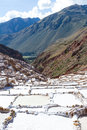 Salt ponds of maras peru in covering a hillside with rich minerals and a economy boost for the country and people Stock Photos