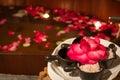 Salt scrub and bath tub in spa Royalty Free Stock Photo