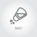 Salt shaker seasoning icon in line style. Outline pictogram for food cooking theme. Simple emblem of spice. Vector