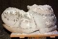 Salt statue representing a show shoe in slanic prahova mine Stock Images