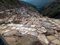 Salt terraces view of the maras located in the sacred valley in peru Stock Images
