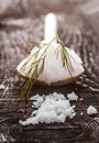 Salt on the wooden spoon Royalty Free Stock Photos