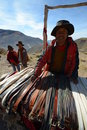 Salta province surrounds jujuy native people selling belts in Stock Photos