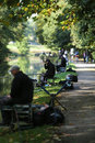 Saltaire angling competition association on the leeds liverpool canal at th october showing a line of competitors Royalty Free Stock Images