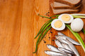 Salted anchovies, egg, bread and spring onion on wood Stock Photos
