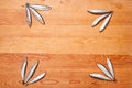 Salted anchovies in group on wood background Stock Photos