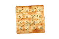 Salted crisp beautiful closeup shot of on white background Royalty Free Stock Photos