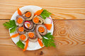 Salted fish (herring) rolls Royalty Free Stock Photos