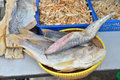 Salted fish for sale at a market stall Stock Photos