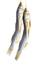 Salted mullet fishes on white background Stock Photo