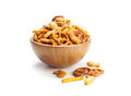 Salted party snacks a pile of mixed background Royalty Free Stock Photos