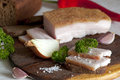 Salted pork lard salo on rye bread with pepper onion and garlic Stock Images