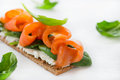 Salted salmon on crispy bread with cheese and spinach Royalty Free Stock Photo