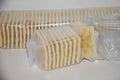 Saltine crackers in plastic wrap Royalty Free Stock Photo
