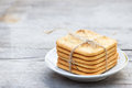 Saltine  crackers on a plate. Royalty Free Stock Photo